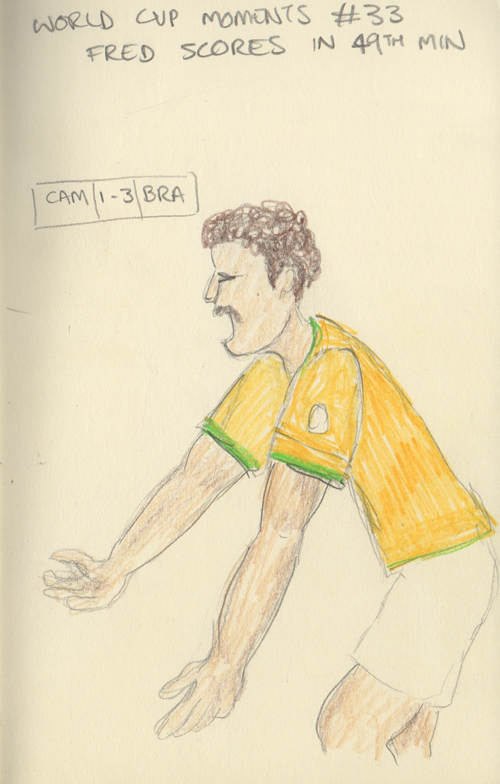 Fred scores Brazil's 3rd goal in the 49th minute.