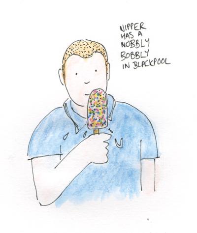 Nipper eating a Nobbly Bobbly